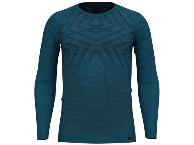 Odlo Suw Natural + Kinship LS Top Crew Neck Herren blue coral melange